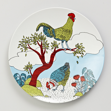 farmhouse_melamine_dinner_plate_chook